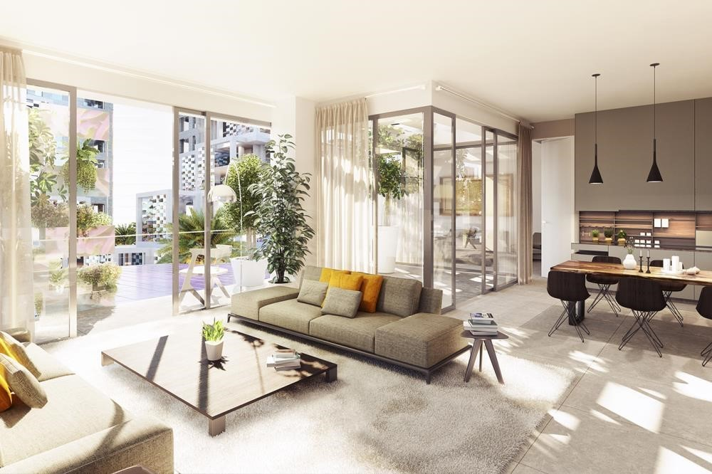 Living Room-Reem Island's First & Only residential community with Beach access.