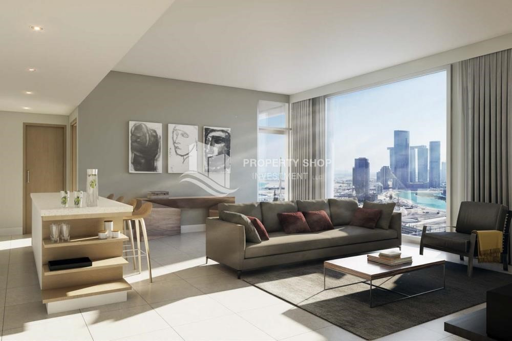 Living Room-Stunning 1BR Apt with a breathtaking view of Al Reem canal.